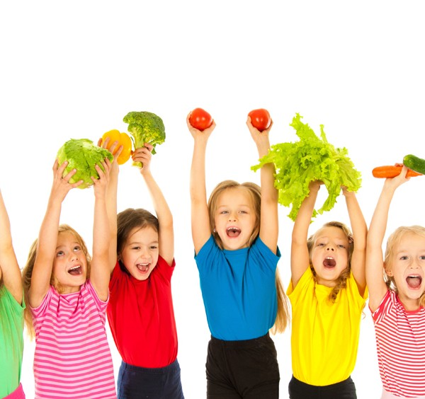 Children  with vegetables